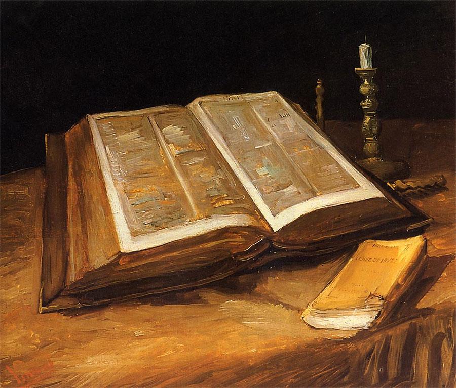 Libros en el arte - Naturaleza muerta con Biblia de Van Gogh